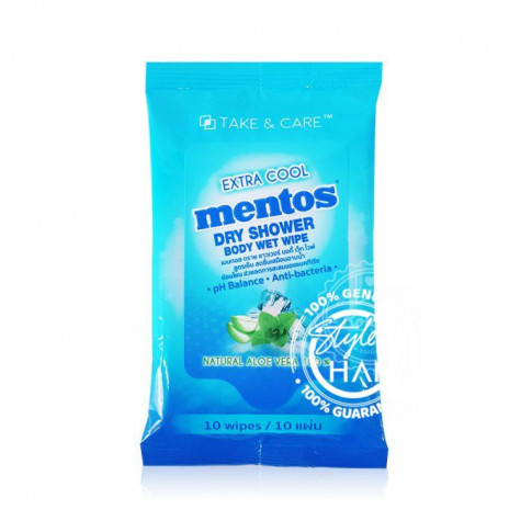 Mentos Dry Shower Body Wet Wipe Extra Cool